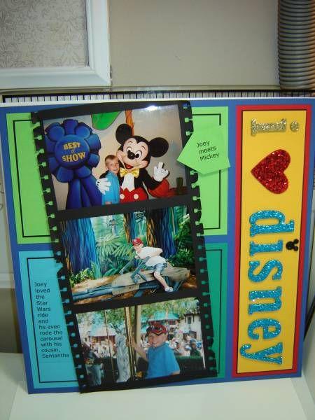 Cute Disney: Scrapbook Ideas, Scrapbook Layout Disney, Disney Ideas, Scrapbook Photos, Layout Scrapbook, Disney Filmstrip, Disney Layout, Disney Scrapbook, Scrapbook Pages