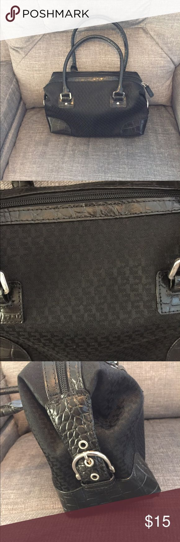 "🆕charter club black handbag. Cute black fabric and faux leather bag.  Inside has two sm open pockets, opposite side has two sm slots for credit cards, another open pocket you could put your smart ph, zippered pocket and fairly lg open pocket.  Bottom has sm feet.  Measures approx 11"" long, approx 4 1/2"" wide and from top of handles to bottom of bag approx 14"".  Smoke free home. Bags"