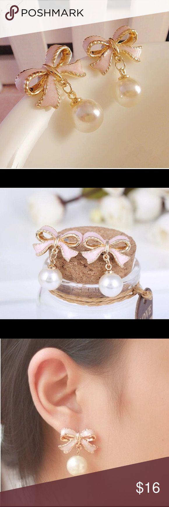 Women's/ Girls Pink Enamel & Pear Drop Earrings High Quality Delicate Gold Color Pink Drops Of Oil Butterfly Bow Knot Pearl Stud Earrings For Women QueenEstherShop Jewelry Earrings