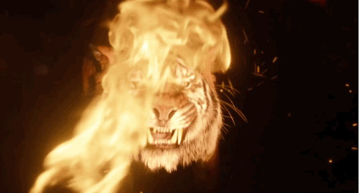 """Let's also talk about how terrifying Shere Khan (Idris Elba) looks. 