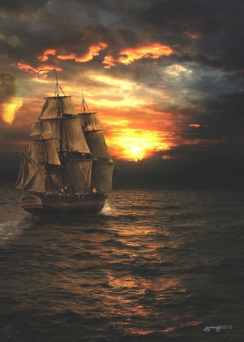 Amazing Tall Ship - beautiful sunset