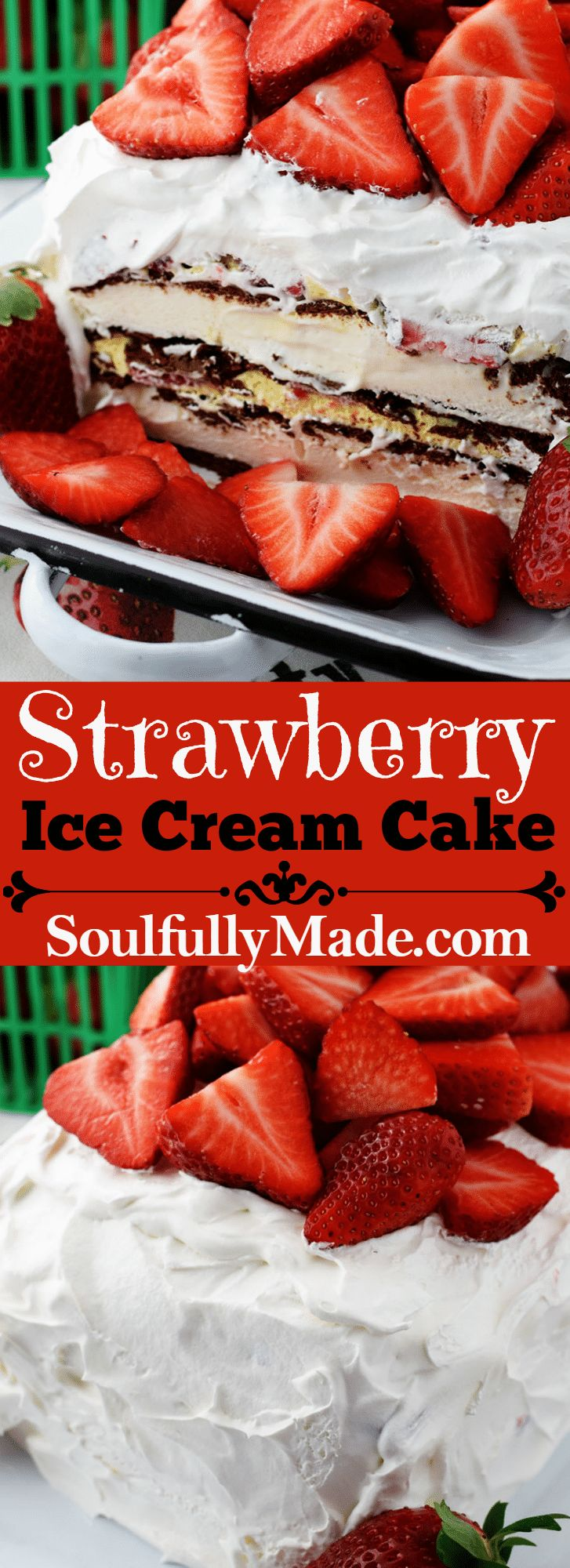 NoBakeStrawberry Ice Cream Cake is an easy dessert made with layers of ice cream sandwiches, a creamy marshmallow pudding, whipped topping anddelicious andnutritiousFlorida Strawberries! @Flastrawberries #SundaySupper #FLStrawberry #desserts