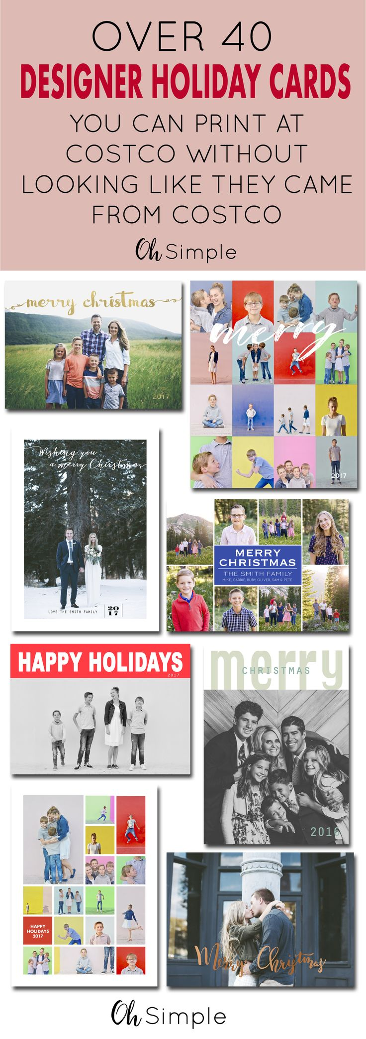 Costco photo cards are the most affordable cards out there. But let's face it, chances are you will end up having the same card as many of your friends and family. Now you can order a custom digital designed card from Oh Simple on Etsy, have them printed at Costco, and have the designer look without the designer price. Just select Costco digital size at check out. Holiday cards | Christmas cards | designer photo cards | customizable cards