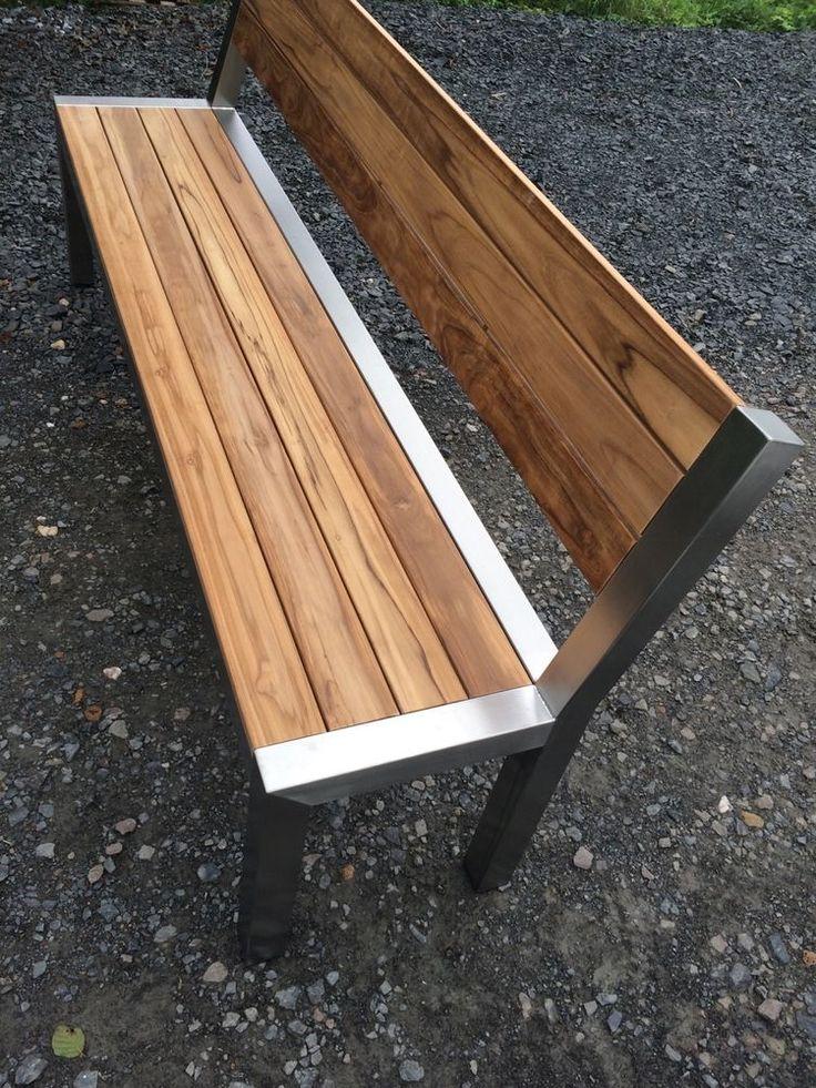 Teak-Edelstahl GartenbankBank Edelstahlbank Holz…