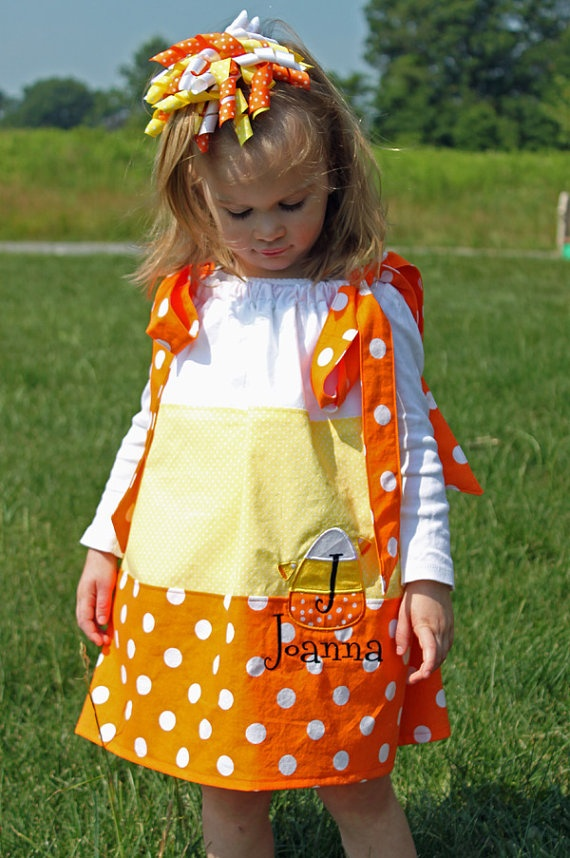 Personalized Candy Corn Pillowcase Style Dress by ...