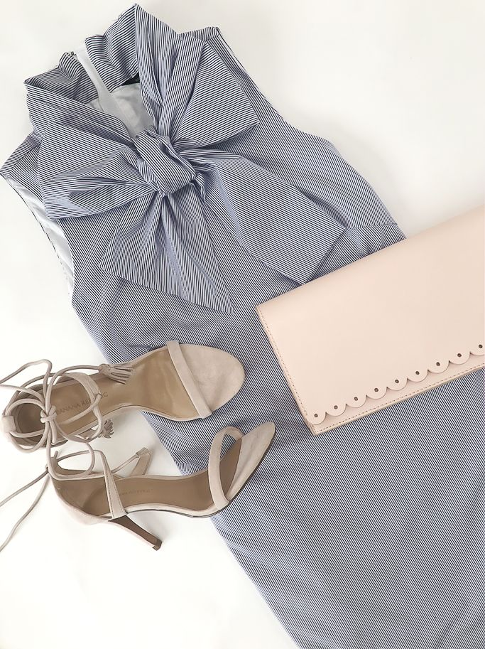 bow print dress, scalloped blush clutch, blush strappy heels sandals - click the photo for outfit details!