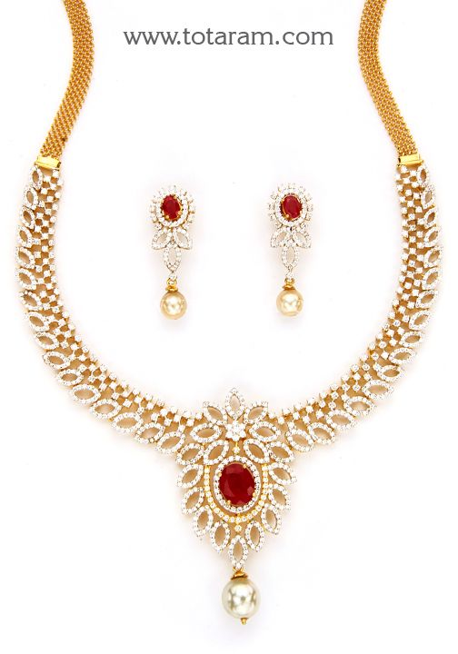 18K Gold Diamond  Necklace & Earrings Set with Ruby , Green Stones &…