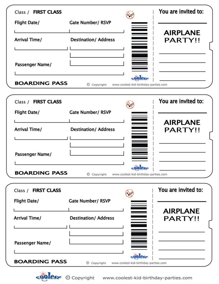 Printable Airplane Boarding Pass Invitations - Coolest Free - admission ticket template