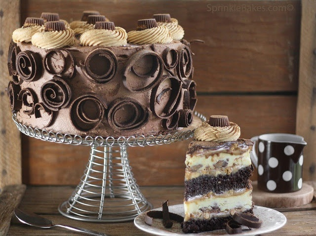 Peanut Butter Cup Chocolate Cake Cheesecake. Interesting. I think I want to try this simply because it looks like it would be fun to put together... then let someone else eat it. :) Too rich for me. Well, maybe I'd eat a bite... or two. ;)