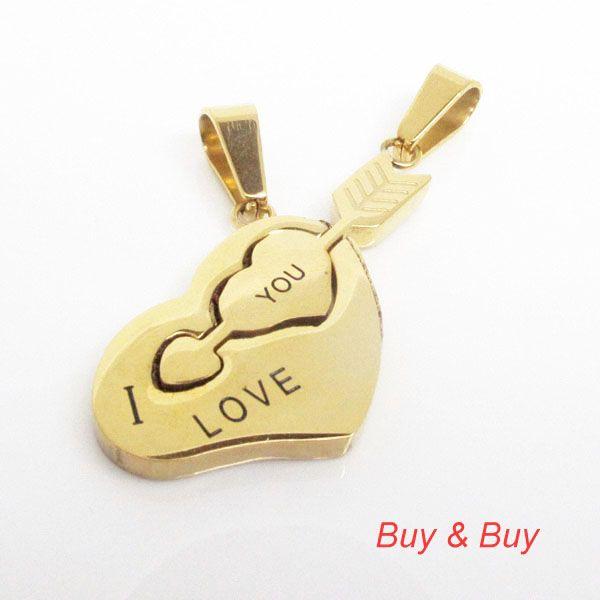 Нержавеющая сталь пара кулон, Любовник в форме сердца стрелка кулон с necklacke, Qlp-740a, Золото цвет, 5 pairs/lot