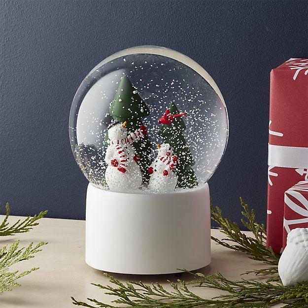 Snowman Snow Globe   Crate and Barrel
