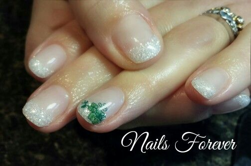 Gel Nails 2016 Sparkled St. Patricks Day Nails