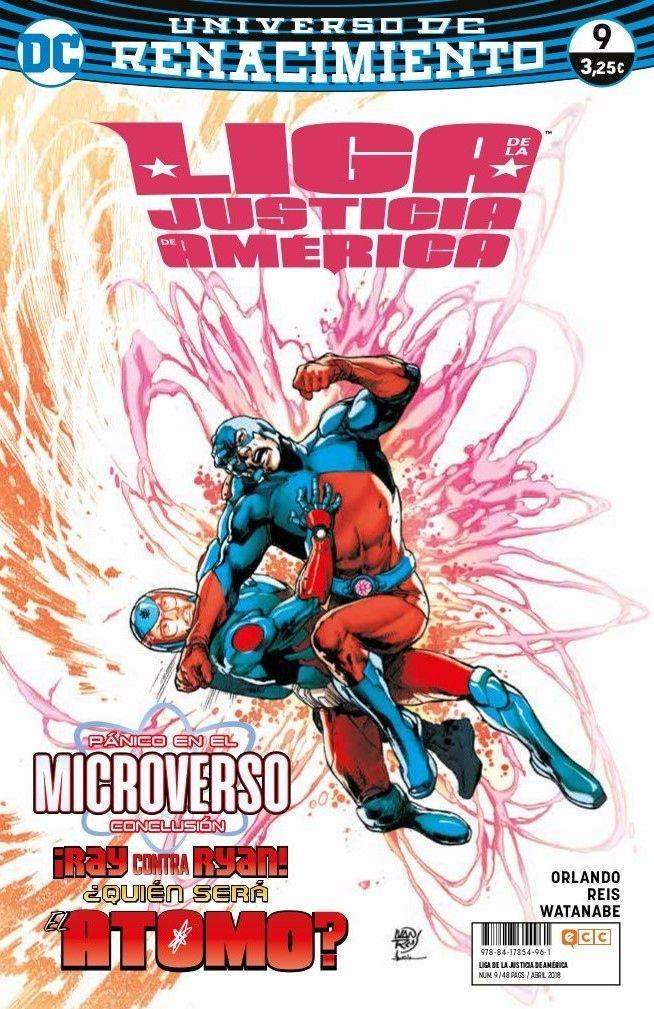 Liga de la Justicia de América núm. 09 (Renacimiento)      EDICIÓN ORIGINAL: Justice League of America núms. 16-17 USA || FECHA PUBLICACIÓN: Abril de 2018 || GUIÓN: Steve Orlando || DIBUJO: Felipe Watanabe, Ivan Reis || FORMATO: Grapa, 48 págs. A color. Disponible el 06/03/2018 || ISBN: 978-84-17354-96-1      Concluye Pánico en el Microverso. La Liga de la Justicia de América... ¡traicionada! ¿Está condenada toda la realidad? Es el desenlace cuántico de esta épica historia de…