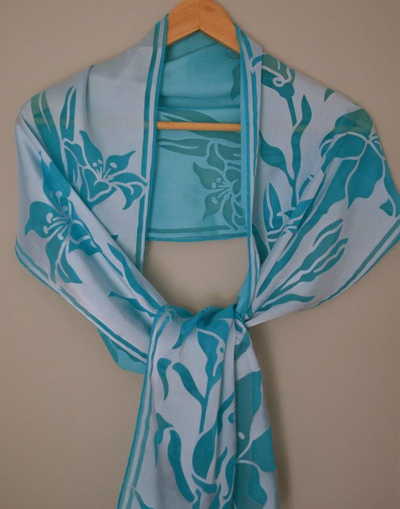 Silk and viscose devore scarf by fourblueowls on Etsy, €45.00