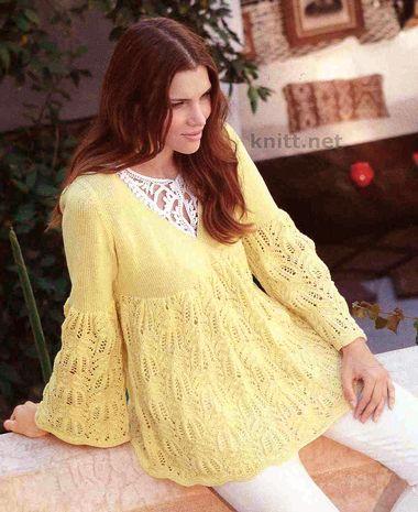 Ажурная туника желтого цвета  выполнена спицами  красивым узором в виде ракушек. Свободный силуэт обеспечит комфорт в весенне-летний период. Модель нежная и женственная.