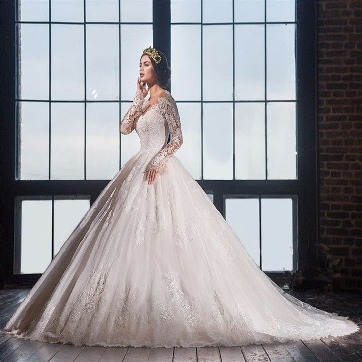 Ball Gown Long Sleeve Lace Wedding Dress Back See Through with Train Bridal Gown #Unbranded