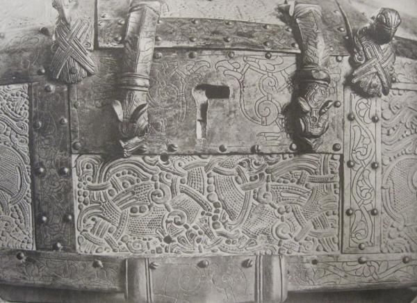 Plaster cast of the Cammin casket in the shape of a Viking house. Photos of some details from 1918 | Victoria and Albert Museum