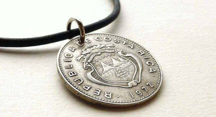 Costa Rica, Coin necklace, Vintage necklace, Men's necklace, Leather necklace, Coin jewelry, Gifts for him, Men's gifts, Coin pendant, 1972 by CoinStories on Etsy