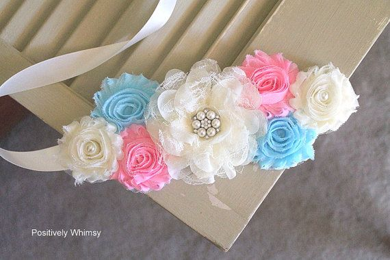 Maternity Sash Gender Reveal Maternity Sash by PositivelyWhimsy