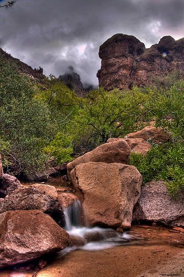 Siphon Draw, Lost Dutchman State Park, Arizona. Named after the fabled lost gold mine, the park is located in the Sonoran Desert, 40 miles east of Phoenix. Several trails lead from the park into the Superstition Wilderness and surrounding Tonto National Forest. Take a stroll along the Native Plant Trail or hike the challenging Siphon Draw Trail to the top of the Flatiron.