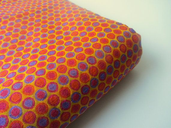 Orange blue two tone polka dots India silk brocade fabric nr 352 fat quarter