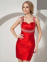 Mini robe de cocktail fourreau rouge en satin élastique cache coeur avec perles