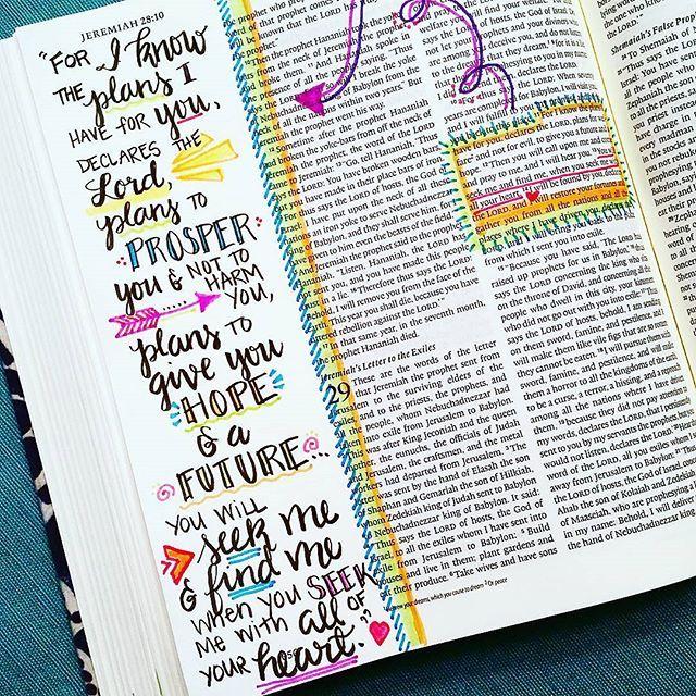 Bible Journaling by Amy Davidson Latta @oneartsymama | Jeremiah 29:11-14