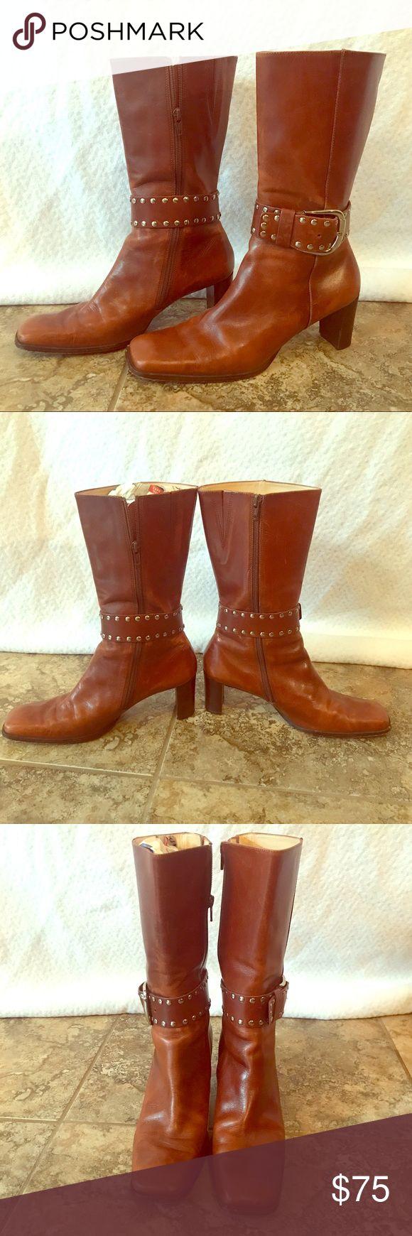 Buckled Cognac Leather Antonio Melani Boots Cognac Leather Antonio Melani - Love these boots! Well cared for! ANTONIO MELANI Shoes Heeled Boots