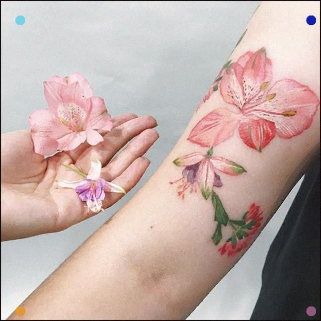 Alstroemeria Fuchsia And Chrysanthemum Arrangement Was Chosen On The Rsession As Usual No Sketche Flower Tattoos Tattoos Realistic Flower Tattoo
