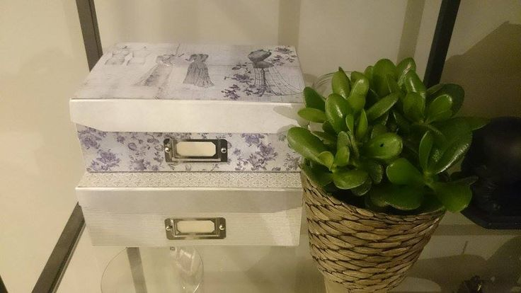 DIY - making those plain boxes beutiful with silver spray and design paper. Extremly easy and great result.