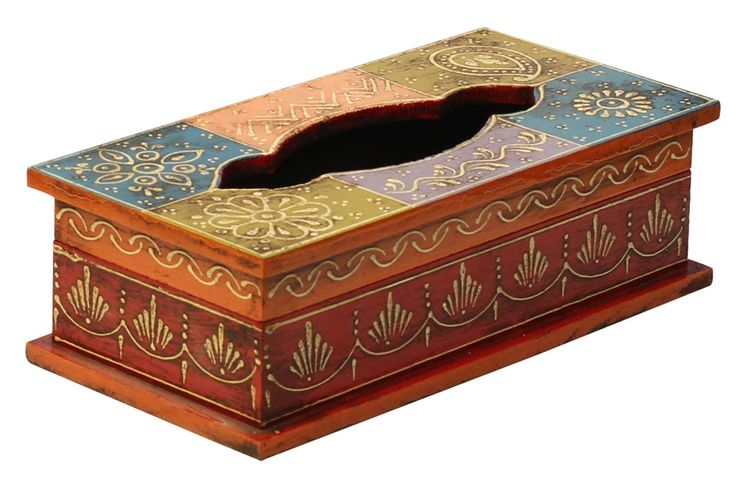 "Bulk Wholesale Handmade 10"" Wooden Tissue Box Holder in Orange, Blue, Violet, Olive-Green, Red Color with Old World Cone-Painting Art in Traditional Motifs – Kitchen / Dining Table Accessories from India"