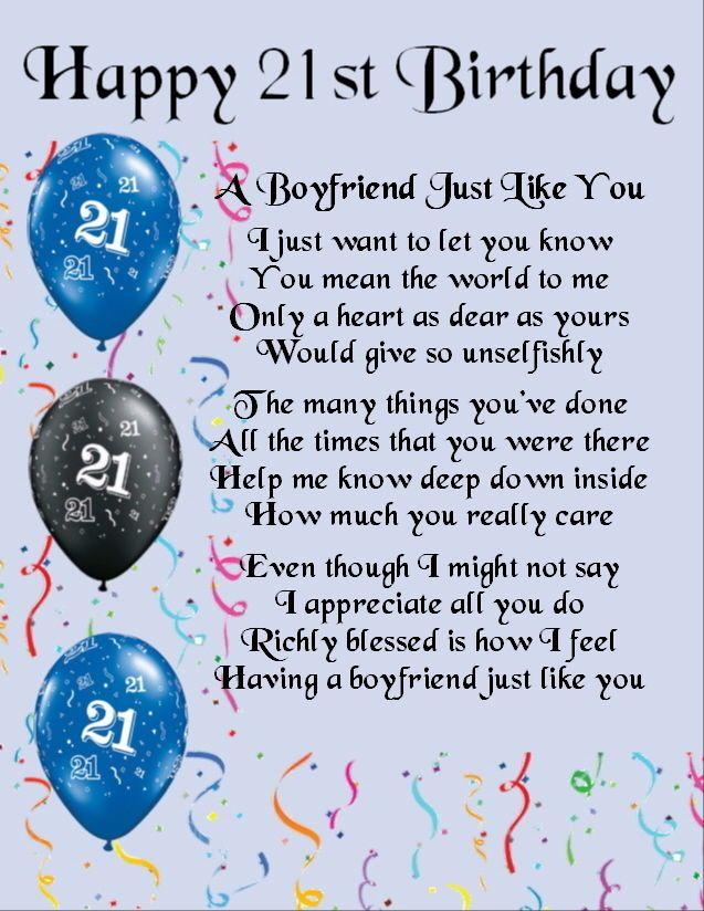 Personalised  Poem Print -  21st  Birthday Design   - Boyfriend  Poem