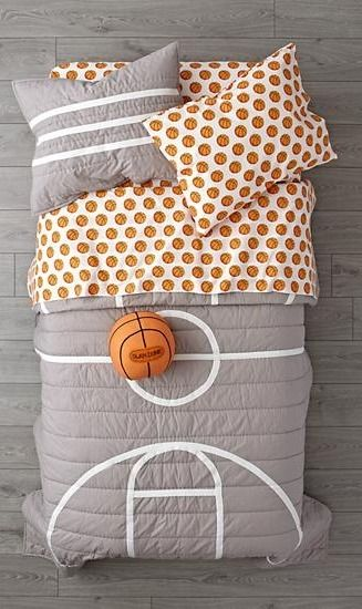 Our Nod Basketball Bedding is so great, it's ready to go pro. Made from comfy 100% cotton, the grey quilt is uniquely designed to resemble a basketball court. And the patterned basketball sheets are made from 100% organic cotton.