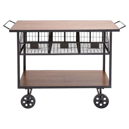 Showcasing industrial-chic casters for effortless style and 3 wire baskets for stowing spices and dishtowels, this versatile cart is an essential addition to...