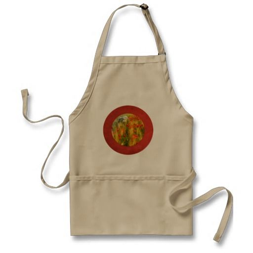 Apron. Bearded collie Niki running in red poppy field.