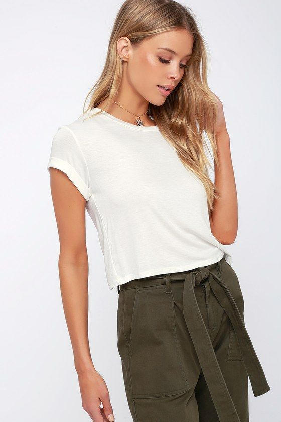 5f8cac9b95e29 The Lulus Carina White Cropped Tee is so versatile