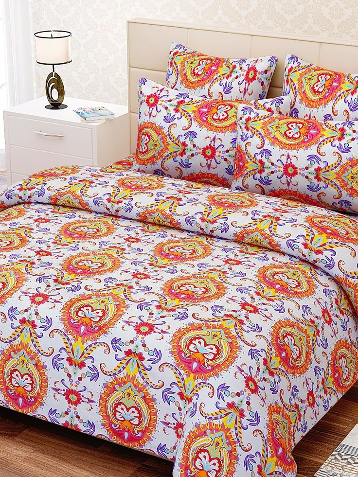 Buy SEJ By Nisha Gupta Multicoloured 240 TC Cotton Double Bedsheet With 2 Pillow Covers -  - Home for Unisex from SEJ By Nisha Gupta at Rs. 899