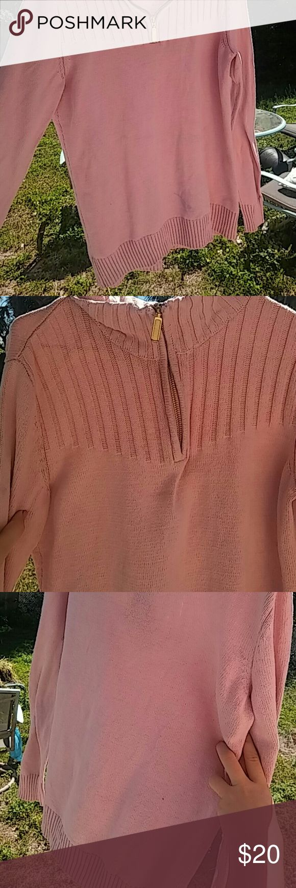 Karen Scott zip-up women's sweater Pastel pink gold zip up long sleeve women's sweater. There is a small discoloring stain on the bottom left kaern Scott Jackets & Coats Pea Coats
