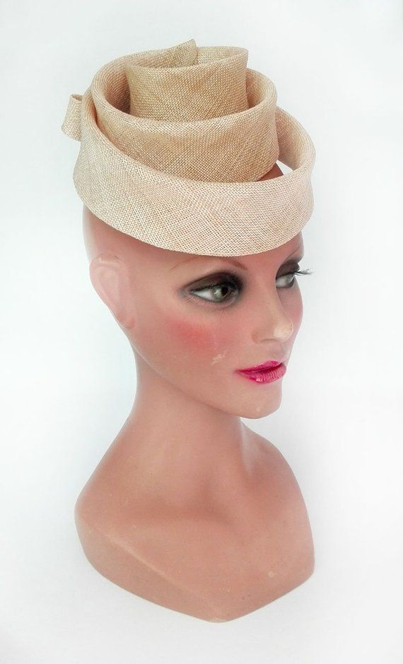 Hat fascinator wedding fascinator beige pillbox hat  5f94bd952a8