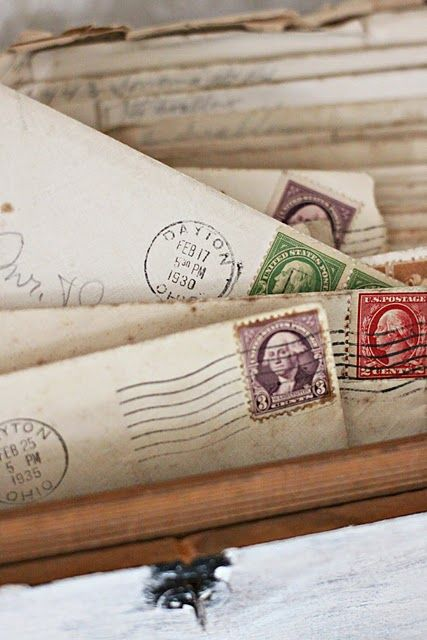 Old letters... love the stamps!  I have the love letters my Grandpa sent my Grandma from 1912
