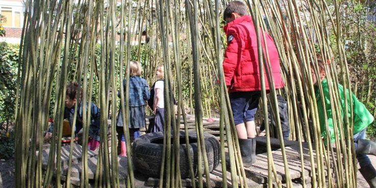 Natuurlijke buitenruimte van kindercentrum 2Aan2