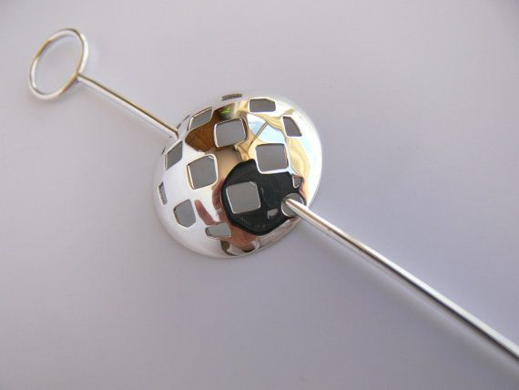 Sterling silver brooch with chequered silver dome by Evesbeads, $75.00
