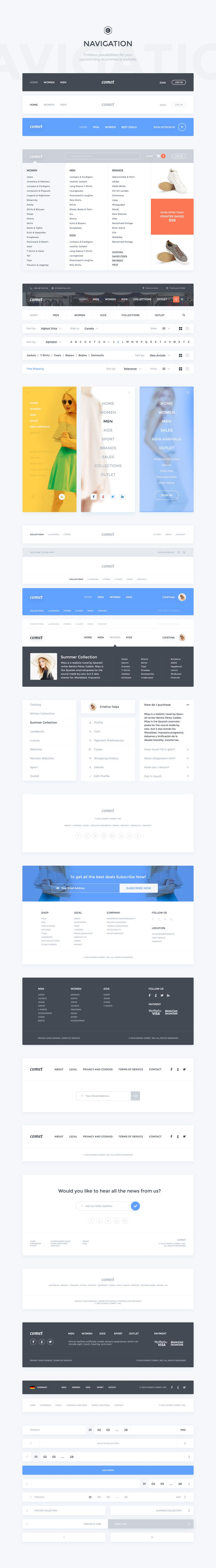 Comet Ecommerce UI Kit by Comet Shop on @creativemarket. If you like UX, design, or design thinking, check out theuxblog.com