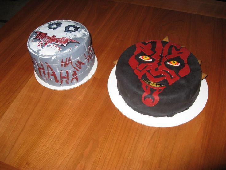 joker cake and darth maul cake