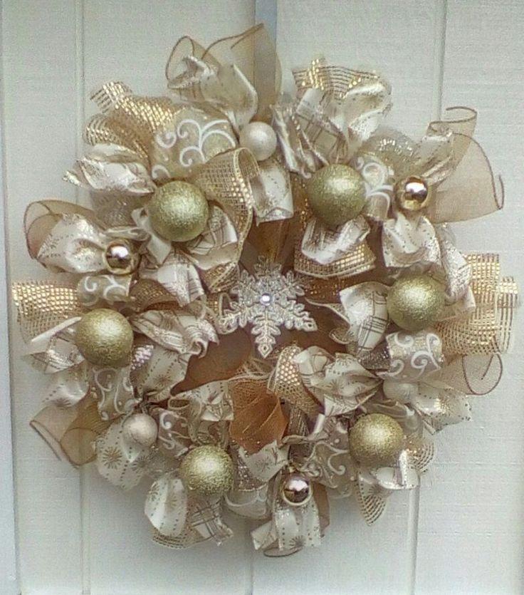 CHRISTMAS DECO MESH RIBBON WREATH WINTER GOLD #DecoMesh