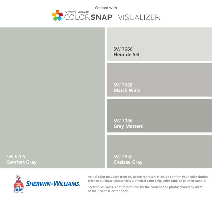 I found these colors with ColorSnap® Visualizer for iPhone by Sherwin-Williams: Comfort Gray (SW 6205), Fleur de Sel (SW 7666), March Wind (SW 7668), Gray Matters (SW 7066), Chelsea Gray (SW 2850).