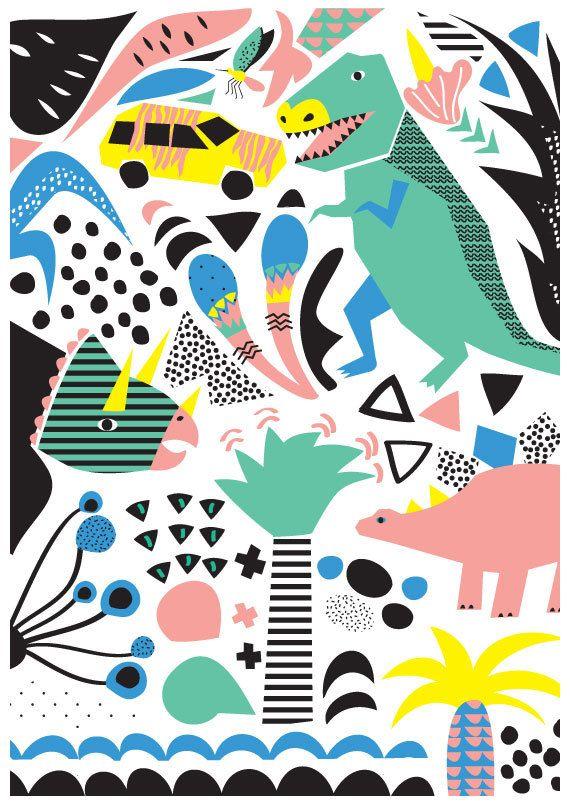 Jurassic Party Art Print. Illustration of dinosaurs by HelloPants