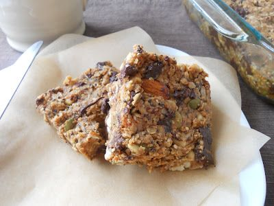 Chocolate Peanut Butter Breakfast Bars loaded with cashews and almonds