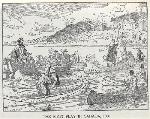 Théâtre de Neptune: First play in Canada, 1606 An imaginary reconstruction by C.W. Jeffreys. #cdnhistory