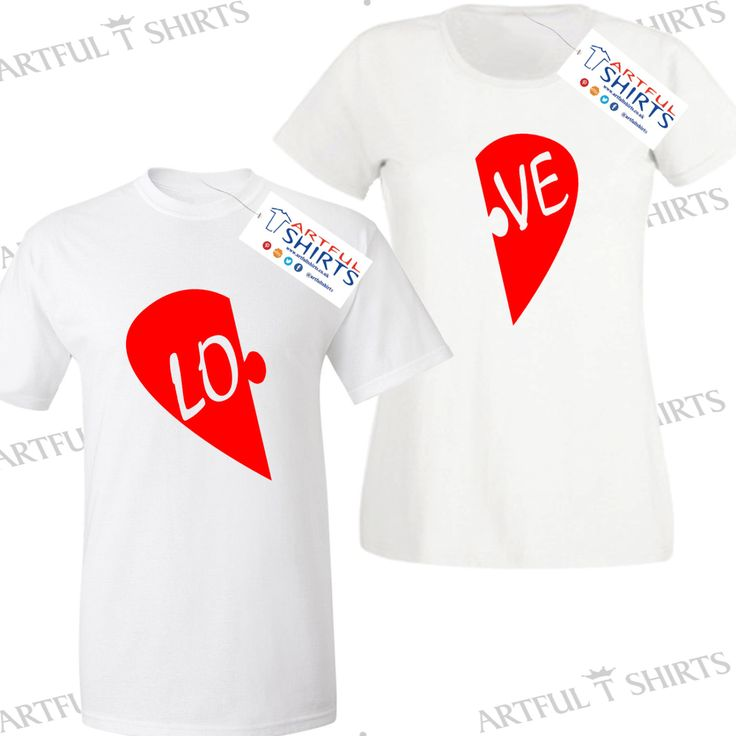 His or Hers Love LO-VE Couples T-Shirt Best gifts for him or her Love Heart, Or buy one of each t-shirt to be cool couples by ArtfulTShirts on Etsy